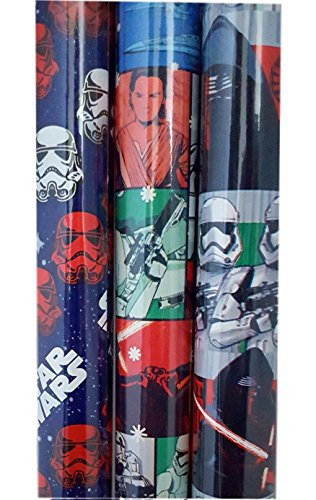 Star Wars Force Awakens Gift Wrapping Paper 3 Assorted Rolls Storm Troopers, Kylo Ren, Mutli-Character]()