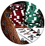 OliveLewis 12'' Vintage Poker Chips And Four Aces Clock Wooden Decorative Round Wall Clock