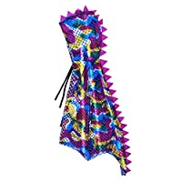 Attitude Studio Metallic Spike Cape, Hooded Scale Cloak, Dragon Dinosaur Medieval Accessory for Dress Up Pretend Play Fantasy Robe, 40 Inch One Size Halloween Costume for Kids Boys Girls
