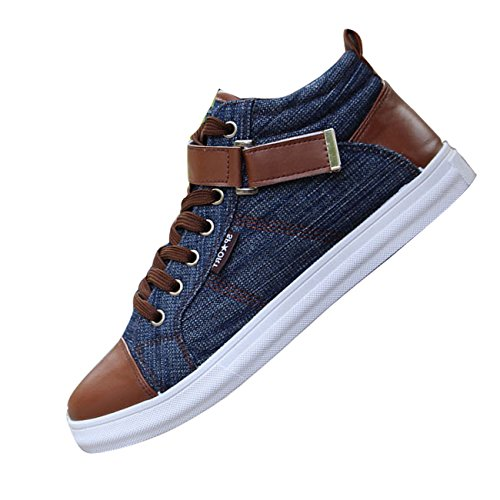 Men Casual canvas denim boat shoes flat Ankle boot lace up