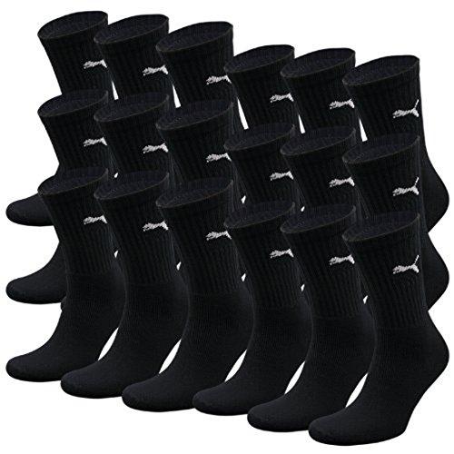 PUMA Unisex Crew Socks Socken Sportsocken MIT FROTTEESOHLE 18er Pack black 200 - 43/46