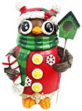 Alpine Corporation Christmas Owl with Bird House Statue - Tm