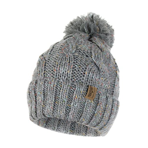 Soft Stretch Chunky Cable Knit Beanie Hat with Pom Pom and Sherpa Fleece Lining (Confetti Grey)