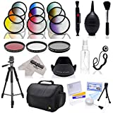 """Opteka Deluxe Accessory Bundle with UV, CPL, FLD, Graduated Color Filters, 72"""" Tripod, Carrying Case and 12-in-1 Cleaning Kit for Canon EOS Digital SLR Cameras (Fits 52mm and 58mm Threads)"""
