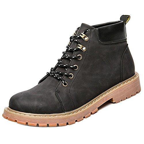 Taoffen Moda Hombre Zapatos De Construcción Invierno Chukka Botas Negro Gris