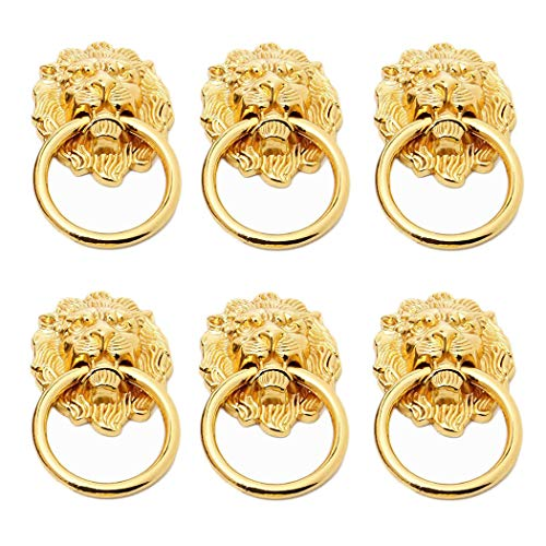 (6 Pack Dresser Drawer Cabinet Lion Head Pull Handle Knobs with Drawer Ring 1.57 x 2.64 Inch Door Rings Pull Handle Knobs(Gold))