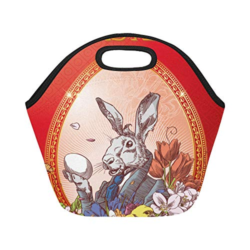 - Insulated Neoprene Lunch Bag Vintage Easter Postcard With Rabbit With Little C Large Size Reusable Thermal Thick Lunch Tote Bags For Lunch Boxes For Outdoors,work, Office, School