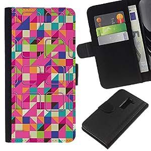 LG G2 / D800 / D802 / D803 / VS980 Modelo colorido cuero carpeta tirón caso cubierta piel Holster Funda protección - Ski Colorful Pink Pattern