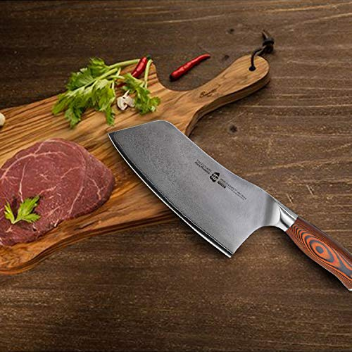 TUO Cutlery Cleaver Knife - Japanese AUS-10 67-Layers Damascus Steel - Chinese Chef's Knife For Meat And Vegetable With Ergonomic Pakkawood Handle - 7'' - Fiery Series by TUO Cutlery (Image #5)