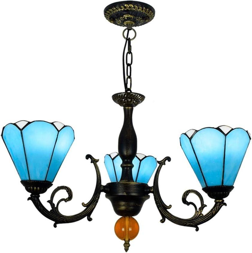 HTYJY 天井のペンダントランプ照明フィクスチャを反転6インチのティファニースタイルのステンドグラス青ランプシェード3つの武器シャンデリア Tiffany style