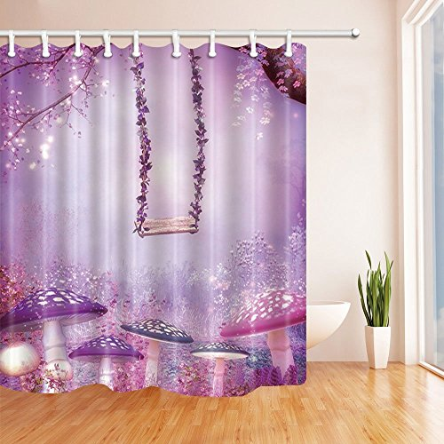 Rrfwq Purple Fairy Tale World Bath Curtain Floral Mushroom and Swing in Garden for Kids Polyester Fabric Waterproof Shower Curtain for Bath Shower Curtains 70.8 X 70.8 inches ()