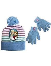 Disney Frozen Girls' Beanie & Gloves Set Featuring Anna & Elsa