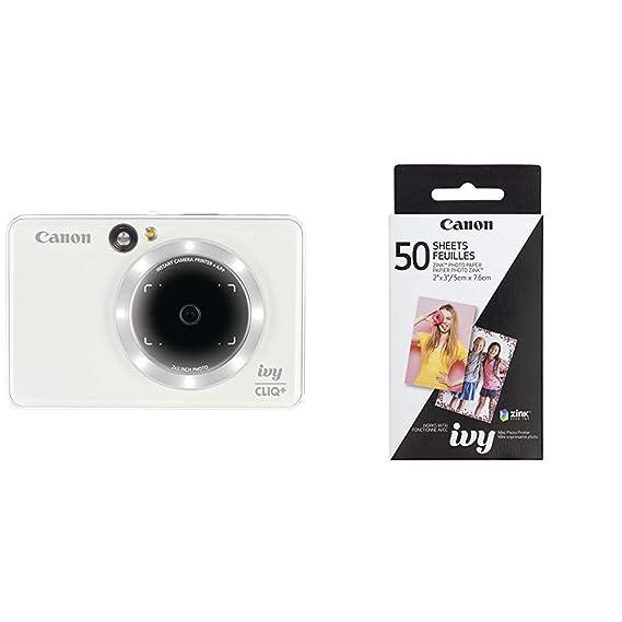 Canon IVY CLIQ+ Instant Camera Printer Mobile Mini Printer Via Bluetooth(R), Pearl White with Canon ZINK Photo Paper Pack, 50 Sheets