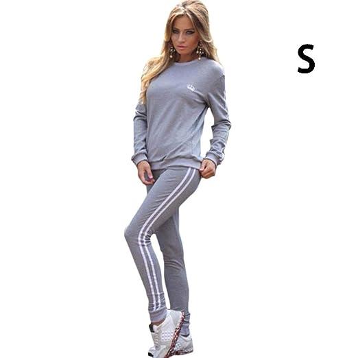 Conjunto de chándal para mujer, manga larga, a rayas, pantalones ...