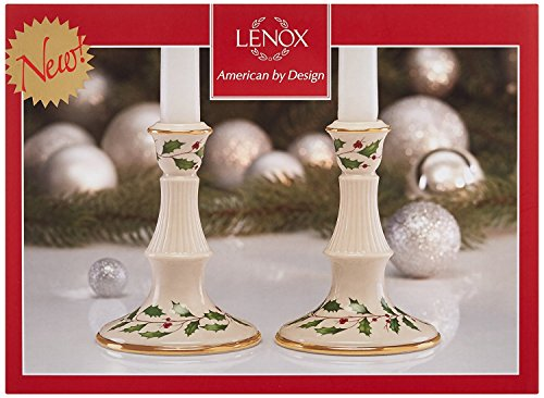 Lenox Holiday Candlesticks Pair,5 inch tall Set of 2 New in box