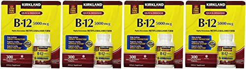 Kirkland Signature, Sublingual B-12 5000 mcg gbPVj 300 Tablets (Pack of 4) by Kirkland Signature