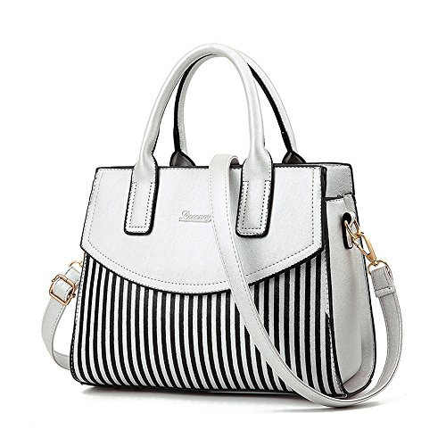 NWT Women Top Handle Bags Bowling Bag Faux Leather Stripe Satchel Shoulder ()