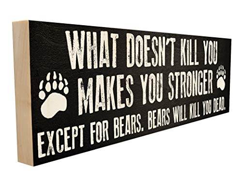 Sawyer's Mill What Doesn't Kill You Makes You Stronger Except for Bears. Great Gift for Hiker or Camper. 4 inches x 12 inches. Custom Handmade Solid Wood Block Sign. Hand-Crafted in Tennessee.