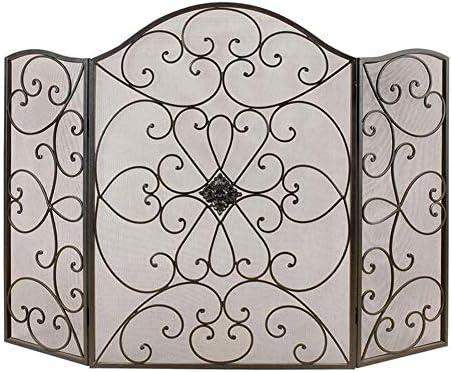 暖炉用品・アクセサリ 錬鉄3パネル火画面、メタルメッシュで赤ちゃん安全証明大きな暖炉スパークガード、50×35.4in、渦巻きデザイン (Color : Black)