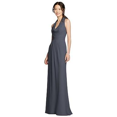 db5bbe9ec0 David s Bridal Long Chiffon Bridesmaid Dress With Front Cowl Neckline Style  F18073