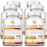 Turmeric MD - with BioPerine & 95% Standardized Turmeric Curcuminoids - Natural Anti-Inflammatory, Antioxidant, Pain Relief and Antidepressant - 360 Capsules (6 Months Supply)