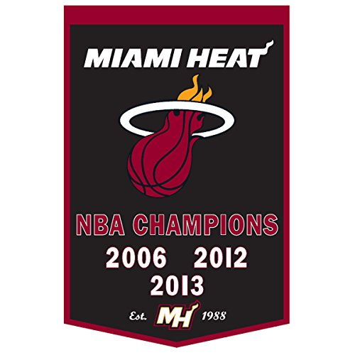 NBA Miami Heat 37'' x 24'' Wool Dynasty Banner - Black/Red -