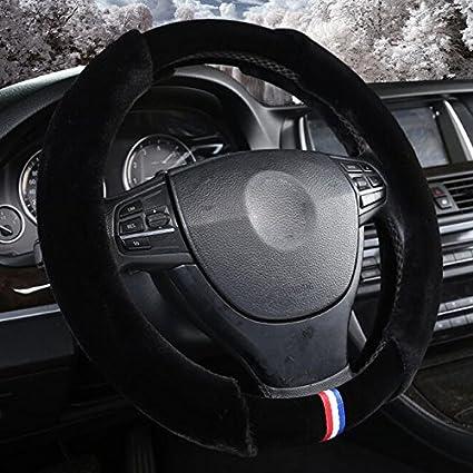 XuanMax Universale Inverno Peluche Coprivolante Auto Morbido Caldo Peloso Soffice Veicolo Copri Volante dellautomobile Antiscivolo Traspirante Copertura di Volante 38cm Beige