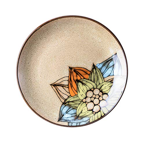Brown Lotus Creative Round Ceramic Plate Flower Floral Dinner Plate Black Edge Dish Steak Noodle Candy Cake Dessert Fruit Snacks Tray Jewelry Set Perfect Gift Present for Friends Family Kids Ins