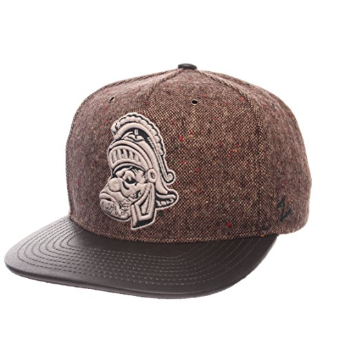Michigan Leather Brown - Zephyr NCAA Michigan State Spartans Adult Men Legend Heritage Collection Hat, Adjustable, Tweed