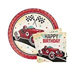 "Vintage Race Car Birthday Party Bundle 9""Plates"