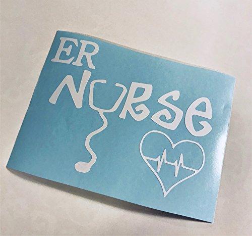 ER Nurse Stethoscope Heart | Nurselife White Vinyl Decal Sticker ()