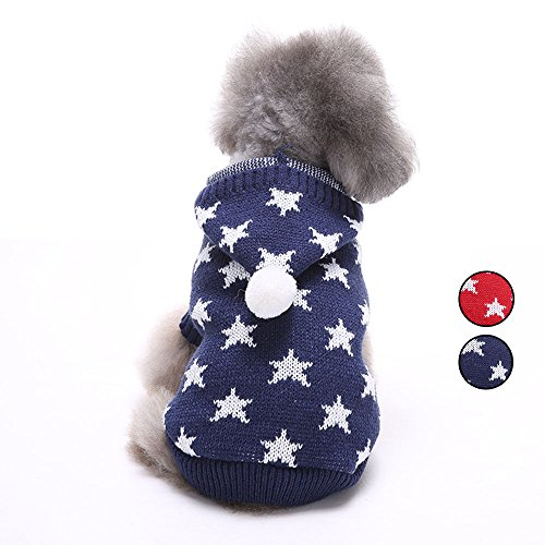 (Star Knitted Dog Sweater, Knitwear Outerwear Pet Clothes with Hat, Dog Hoodie for Small Dogs by HongYH )