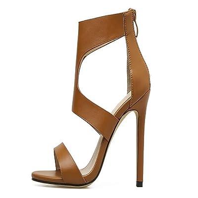 Mesdames talons hauts en simili-cuir printemps été nouvelle mode bottes sandales pour la fête de mariage noir brun clair JIANFCR