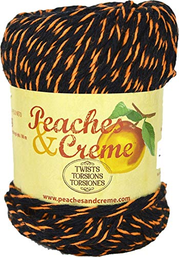 Spinrite Peaches & Creme (Cream) Cotton Yarn Twists Black with Orange 2 oz -
