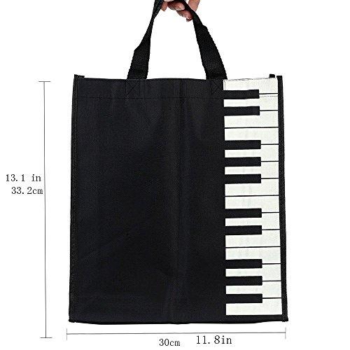 Sound harbor Music Handbag Tote Shopping Bag Gift Music Theme Bag (Black)