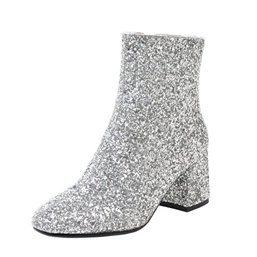 - COOLULU Women's Mid Block Heel Glitter Ankle Boots Zipper Party Short Booties Shoes Size 7 B(M) US,Silver