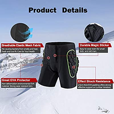 GOHINSTAR Protective Padded Shorts 3D Protection Hip Butt for Ski Skate Cycling Men Women: Clothing