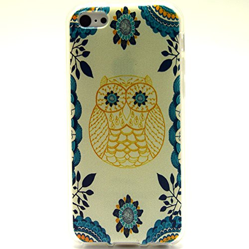 Apple Iphone 5c Case, Sophia Shop Apple Iphone 5c Case, Ultra Slim TPU Soft Rubber Cover Case, Scratchproof, Shock Absorbent, Shatterproof, Anti-slip [Portrait Style] [Tribal Pattern] [Flower Pattern] [Fashion Pattern] [Text Pattern] [Totem Pattern] Protective Skin Case Fashion Style Colorful Painted TPU Case Soft Rubber Back Cover Protector Skin for Iphone 5c (owl)