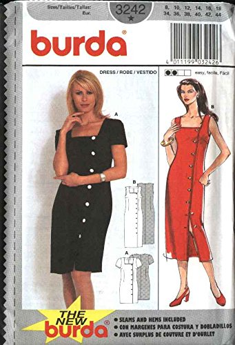 Burda Sewing Pattern 3242 Misses Size 8-18 Easy Front Button Summer Dress (Dress Pattern Front)