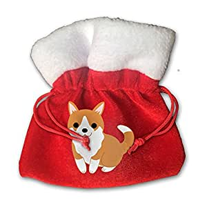 Cute Puppy Santa Clause Christmas Gift Bags Drawstring Bag Candy Bag For Children Holiday Wrapping Goodie Bags Party Favors
