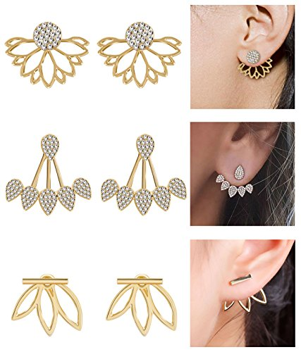 Masedy 3 Pairs Lotus Flower Earrings for Women Girls Stud Earrings Ear Jacket Earrings(G) (G-iii Mens Jacket)