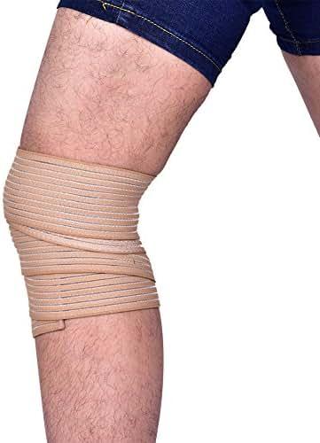 Sports Bondage Wrap, Adjustable Support Gym Strap Protective Wristband Knee Pad Brace (Beige)