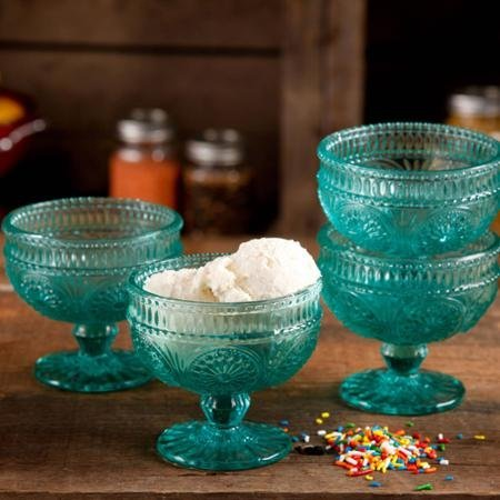 Pioneer Glass Bowls - The Pioneer Woman Adeline 10 Oz Glass Sundae Cups, Set of 4 - Turquoise by The Pioneer Woman