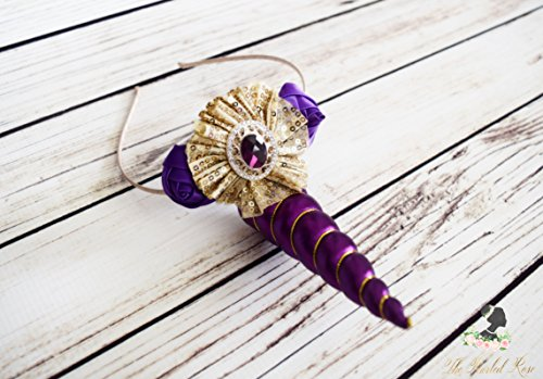 Handcrafted Purple and Gold Unicorn Horn Headband - Adult Unicorn Headband - Toddler Unicorn Birthday Accessory - Royal Unicorn - Fancy Bows