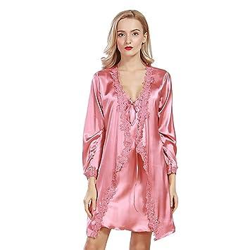 Pijamas Bata Sexy para Mujer Tirantes Satén Vestido De Novia Vestido De Punto Chaqueta De Servicio A Domicilio (Color : Pink, Tamaño : L): Amazon.es: Hogar