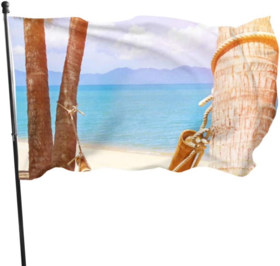 Hamaca de luna de miel, vacaciones entre palmeras, banderas de fiesta para adultos, banderas decorativas para casa, 3 x 5 pies, colores vibrantes, poliéster de calidad y ojales de latón