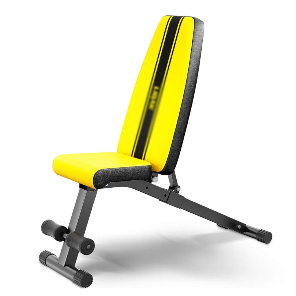 Bauchtrainer Fitnessstudio Hantelbank Sit-ups Fitnessgeräte Heimtrainer Übungstraining (Farbe   Gelb, Größe   33.5x106x45cm)