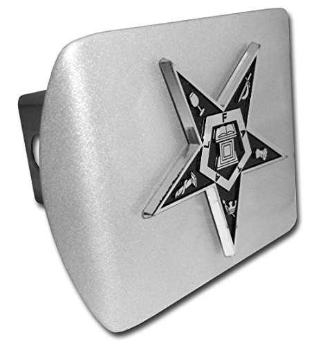 Eastern Star ALL METAL Brushed Silver Hitch Cover