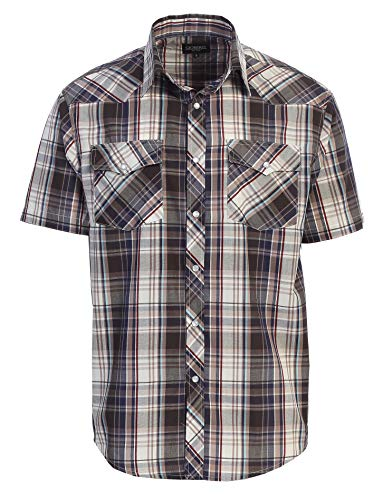 Gioberti Men's Plaid Western Shirt, Brown/Navy, XX Large