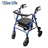 EZee Life Fold Up Rollator Walker with Padded Seat, Removable Padded Back Support (Blue)